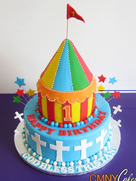 Carnival Themed Christening Cake