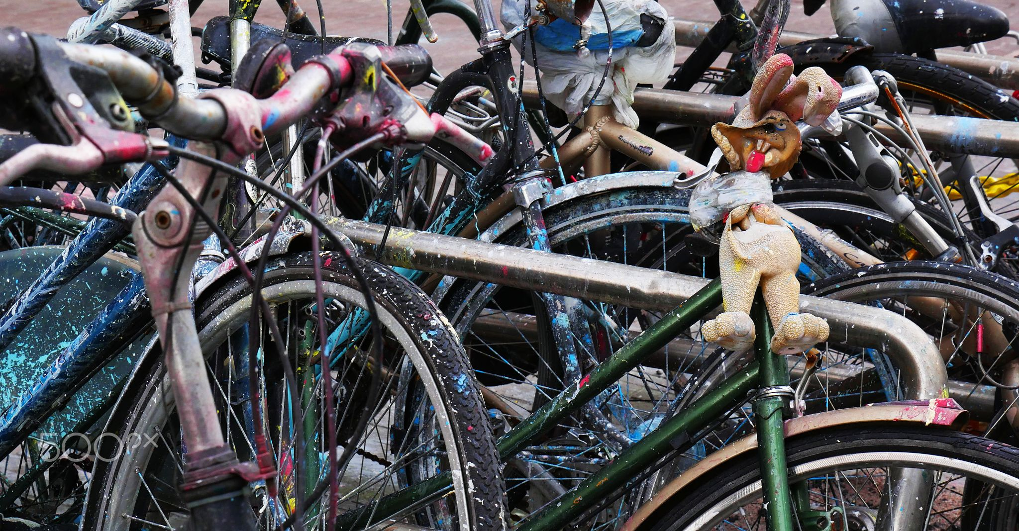 Bunny Bike - detail of an artistic manifestation in amsterdam, the netherlands