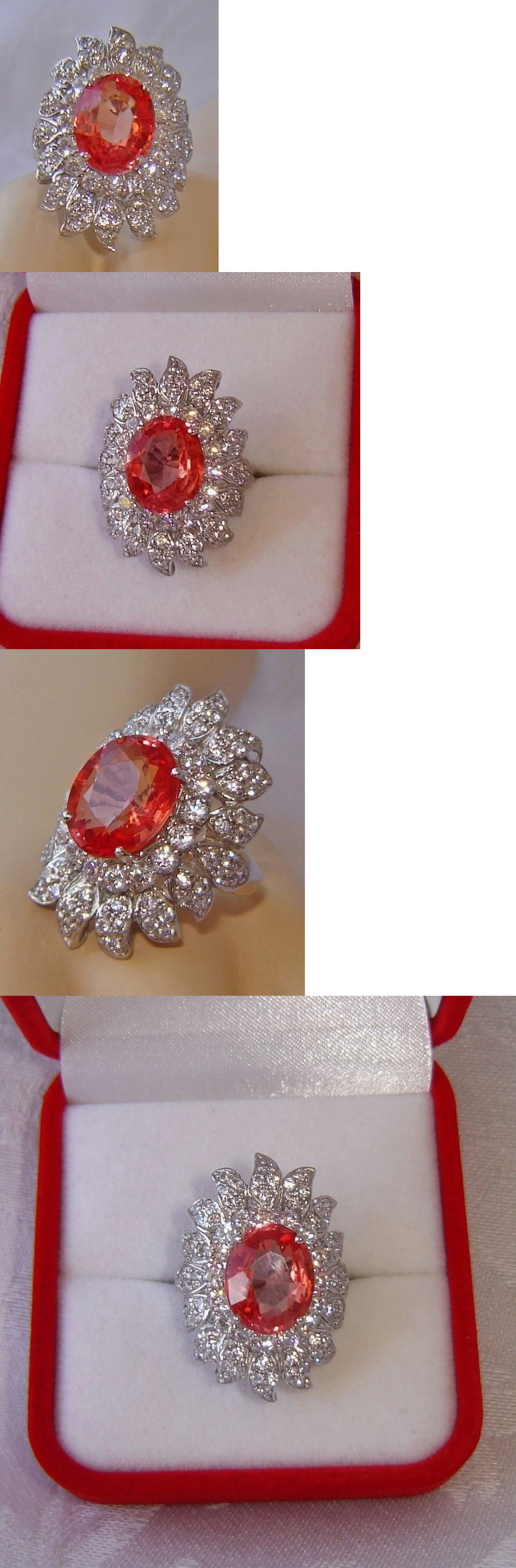 Rings ct padparadscha sapphire ring sz white gold
