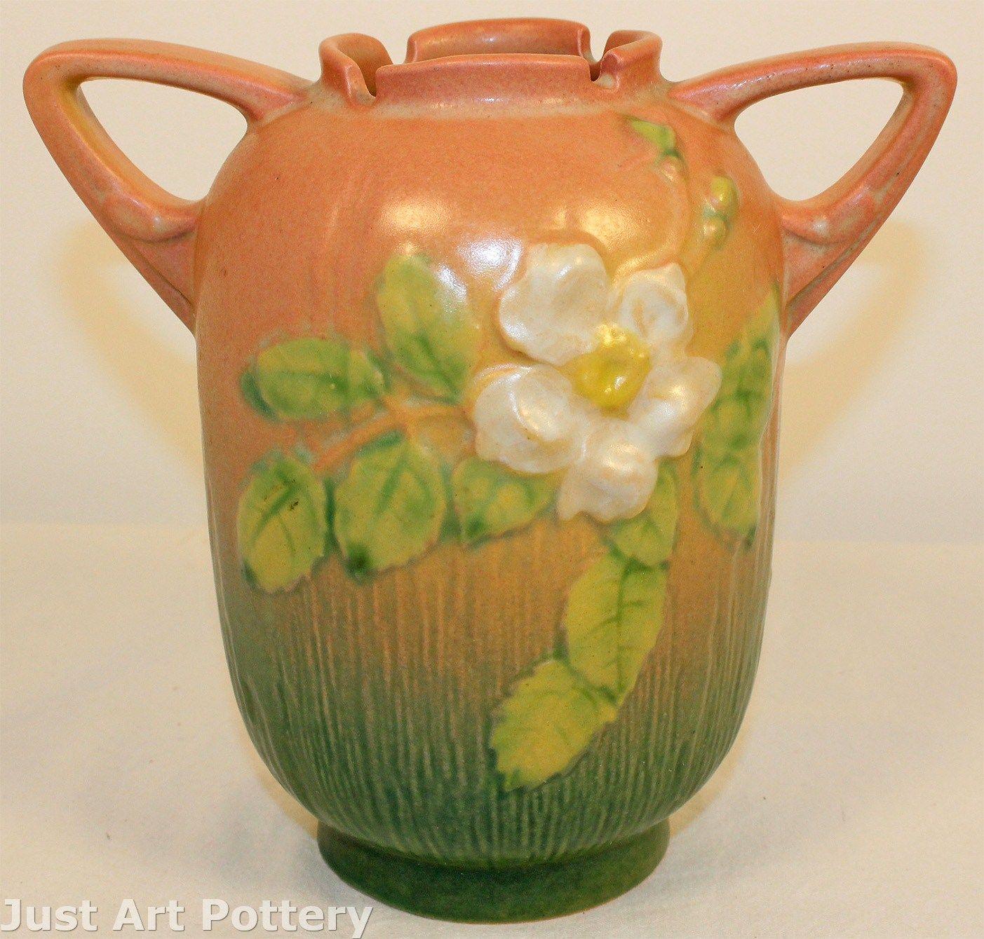 Roseville Pottery White Rose Pink Vase 979-6 from Just Art Pottery