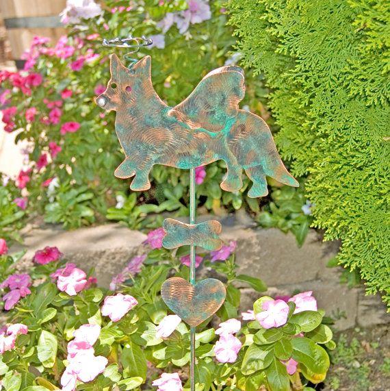 Corgi Stake / Pet Memorial / Metal Garden Art / Copper Art / Yard ...
