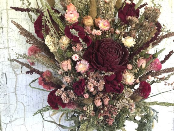 Victorian Bridal Bouquet Wedding Dried Flower Burgundy
