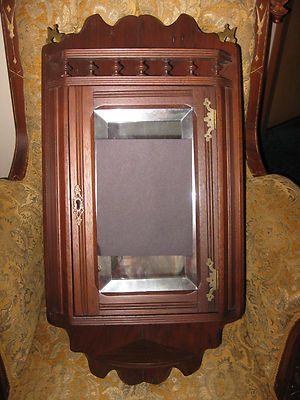 old medicine cabinets antique vintage victorian walnut eastlake corner curio medicine