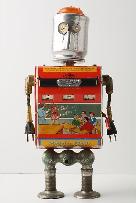 "Have you seen these adorable robots at Anthropologie? Handmade in the USA by artist Amy Flynn, these found object robots (or ""fobots"") were created from repurposed bits and pieces, like an engine oiler, a funnel, and hydraulic fittings."
