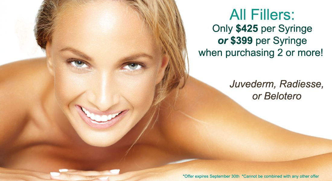 Special Fillers prices this September on Juvederm, Radiesse, and