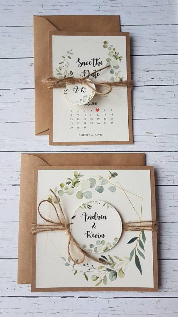 10x Hochzeitseinladungen Grüne Pflanzen Hochzeitsbriefpapier Kraftpapier Hochzeitseinladungen Hochzeitskarten Jute Rustic Vintage 2019 Boho – Mein Blog   – Tischkarten Hochzeit