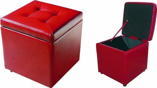 Red Faux Leather Ottoman With Storage Footstool Pouffe Ottoman