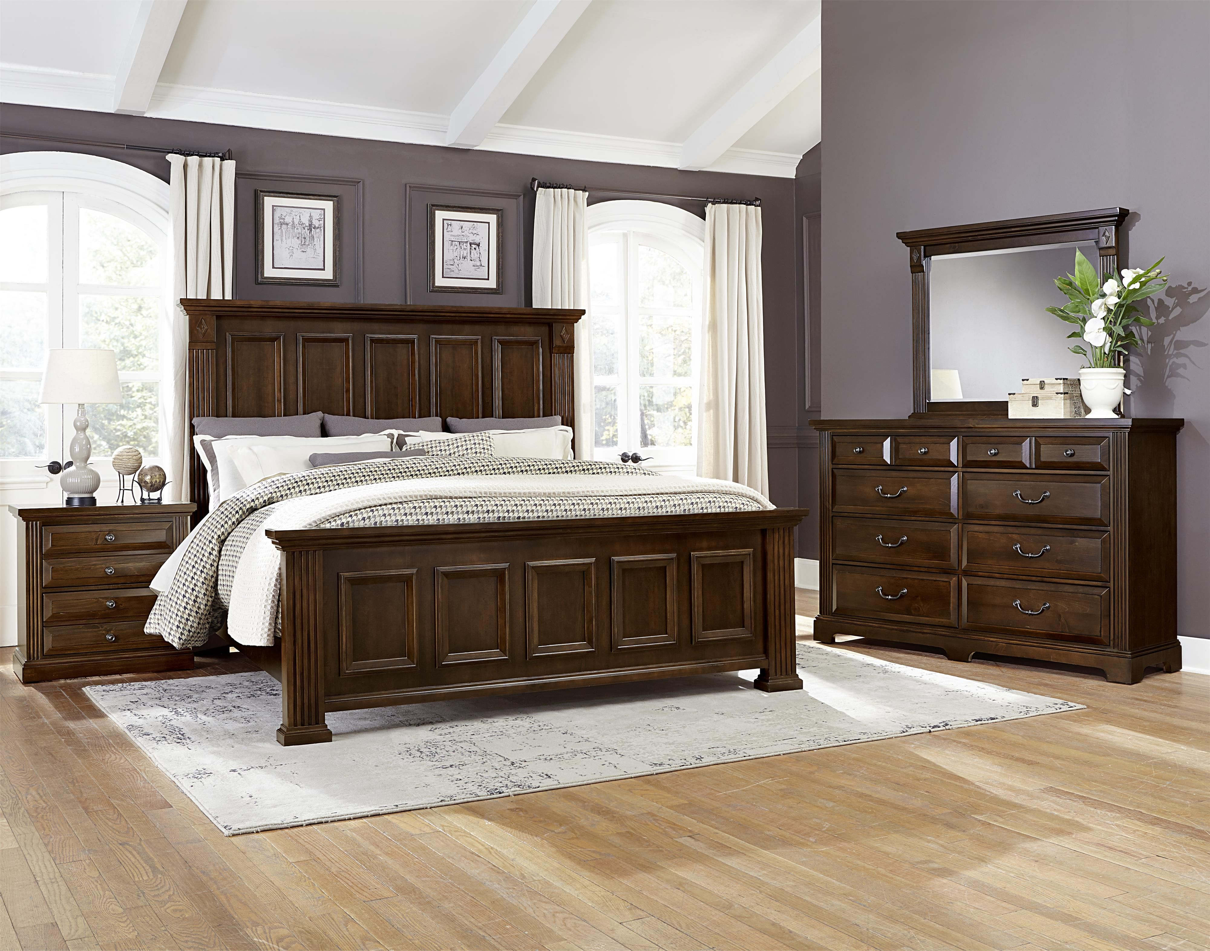 Master bedroom bed  Woodlands Transitional King Mansion Bed by Vaughan Bassett  King