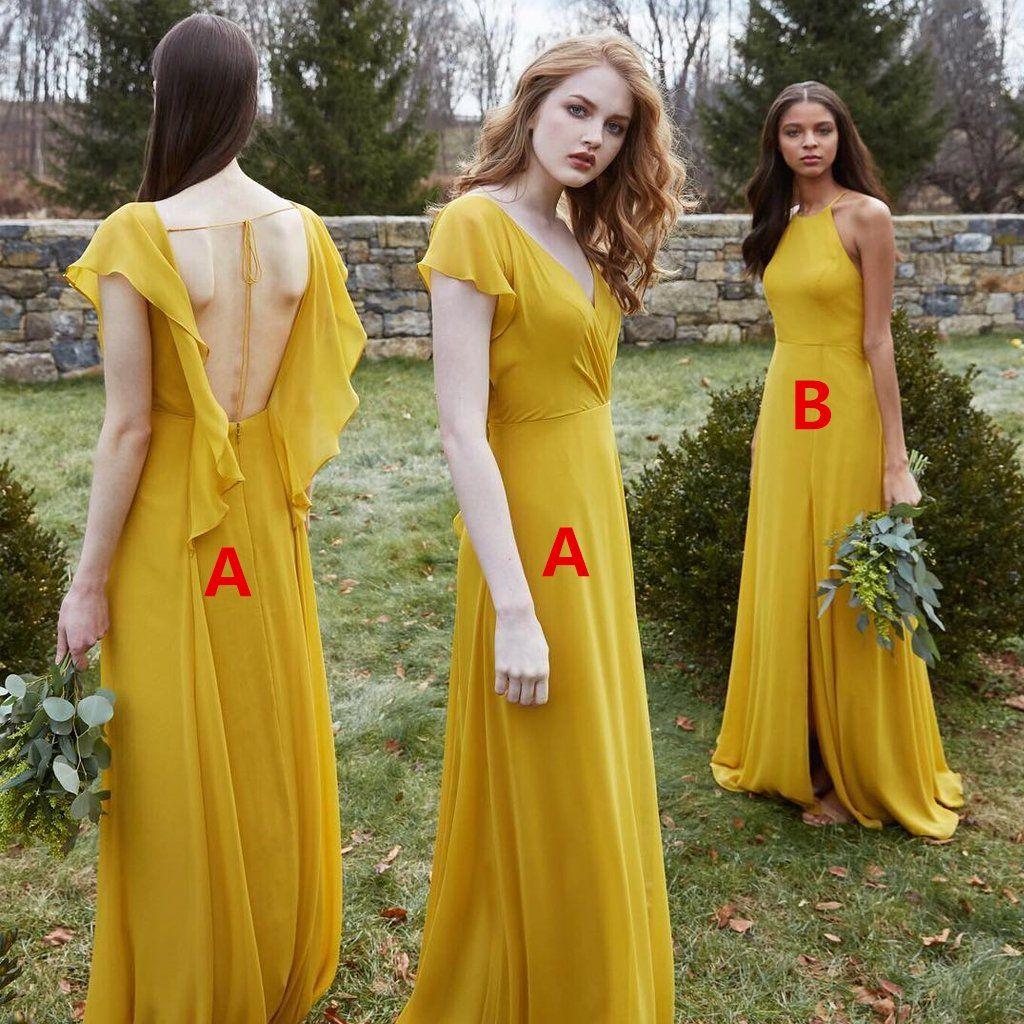 Vestido de dama de honor barato sin espalda de gasa de una línea no coincidente, FC1798 – US14 / Color personalizado (dejando una nota) / A  – Maquillaje