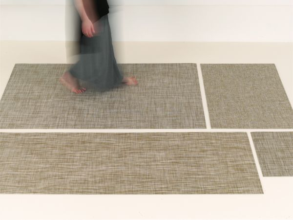 CHILEWICH CONTRACT COLLECTION 2015-2016   CUSTOM FLOOR MATS IN CORNSILK BOUCLE, HARVEST BASKETWEAVE AND WHITE/GOLD IKAT