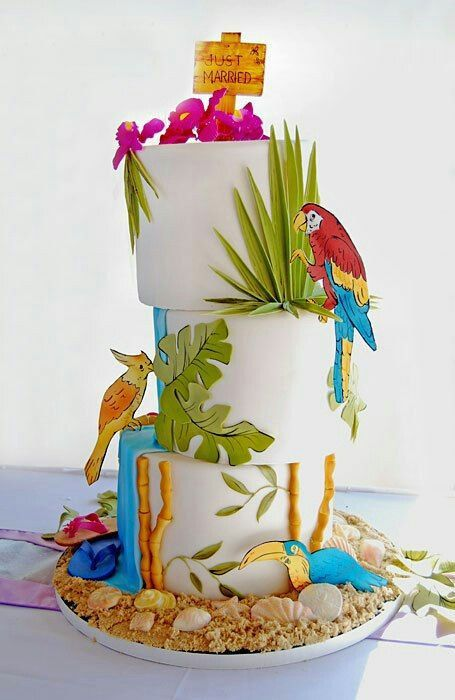 Tropical | Birds | Carmi 10th SummerParty | Cake, Luau ...