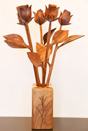 Beautiful handcrafted wooden roses, perfect for your 5th anniversary. One single rose $19.95
