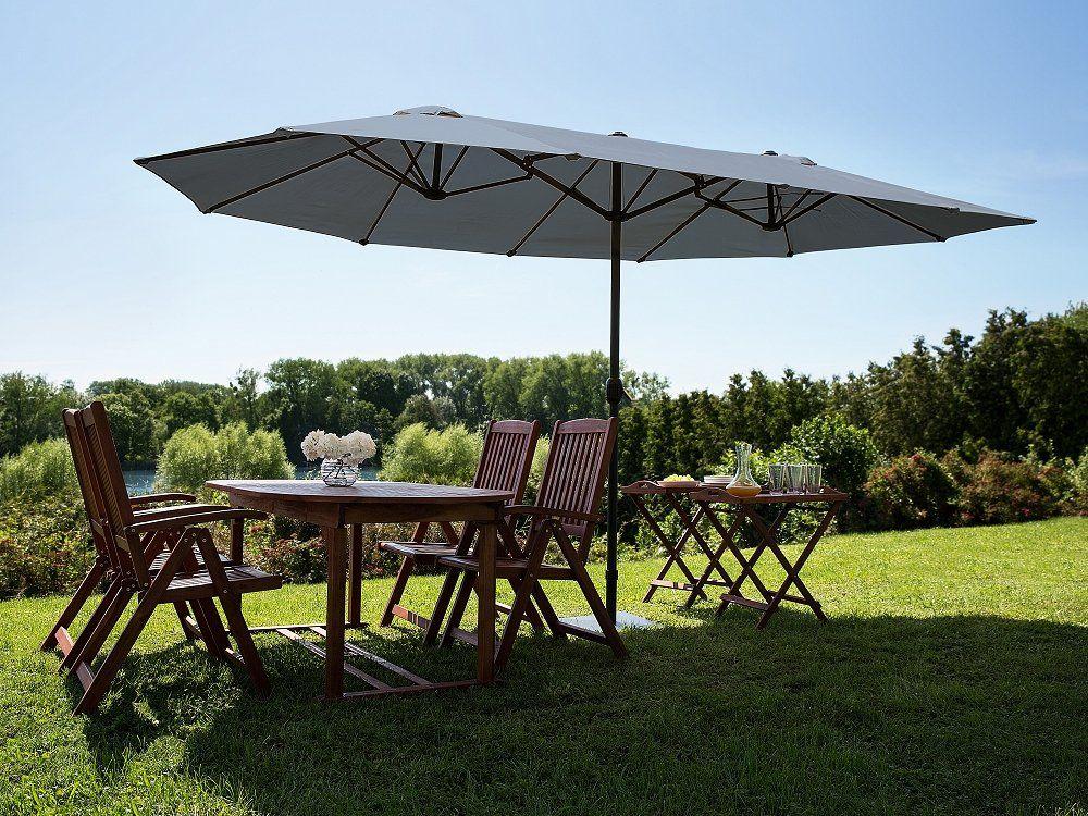 Large Garden Parasol - Double Canopy Umbrella 460 cm - Anthracite ...