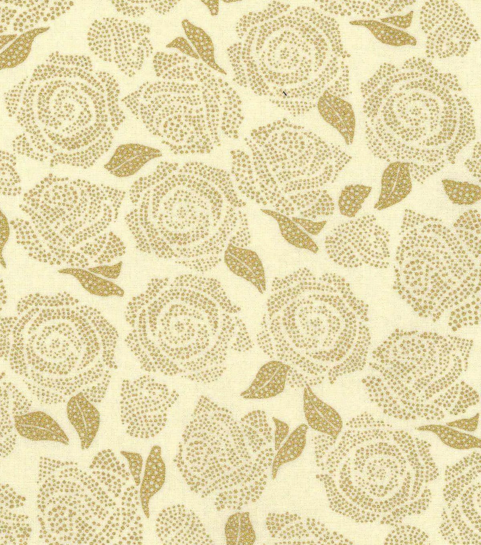 Keepsake Calico Cotton Fabric - Metallic Rose Cream Gold | Crafty ... : metallic quilting fabric - Adamdwight.com