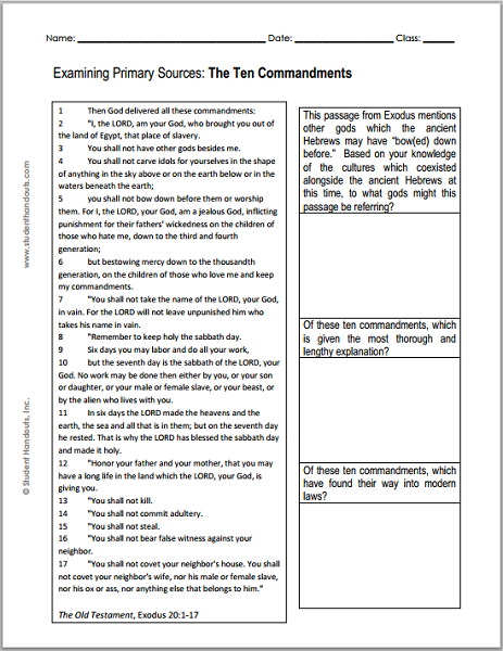 The Ten Commandments  Dbq DocumentBased Question In Printable