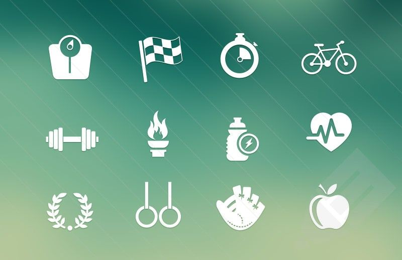 scales, flag, timer, bike, healthy heat, and other vector sport icons