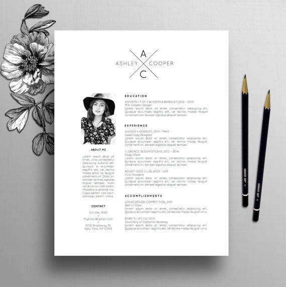 professional resume template  cv template   cover letter  3 pack  ms word  instant digital