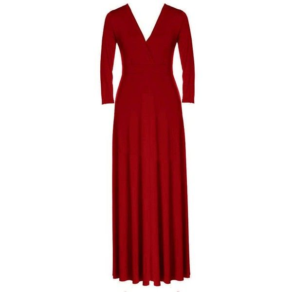 Yoins Yoins Plus Size Red Plunge V-Neck Maxi Dress ($28) ❤ liked on Polyvore featuring dresses, plus size dresses, red, low v neck dress, plus size maxi dresses, red v neck dress and deep v-neck dress