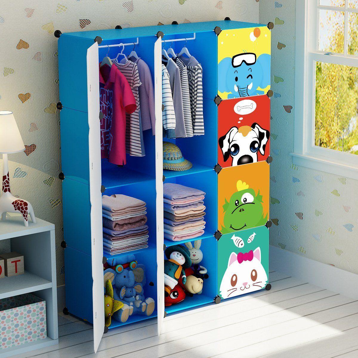 Kousi Portable Clothes Closet Wardrobe Freestanding Cute Cartoon Storage Organizer With Armarios Para Ninos Diseno De Cama Para Ninos Mueble Para Guardar Ropa