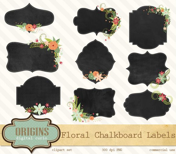 Floral Chalkboard Labels Clipart by Origins Digital Curio on Creative Market