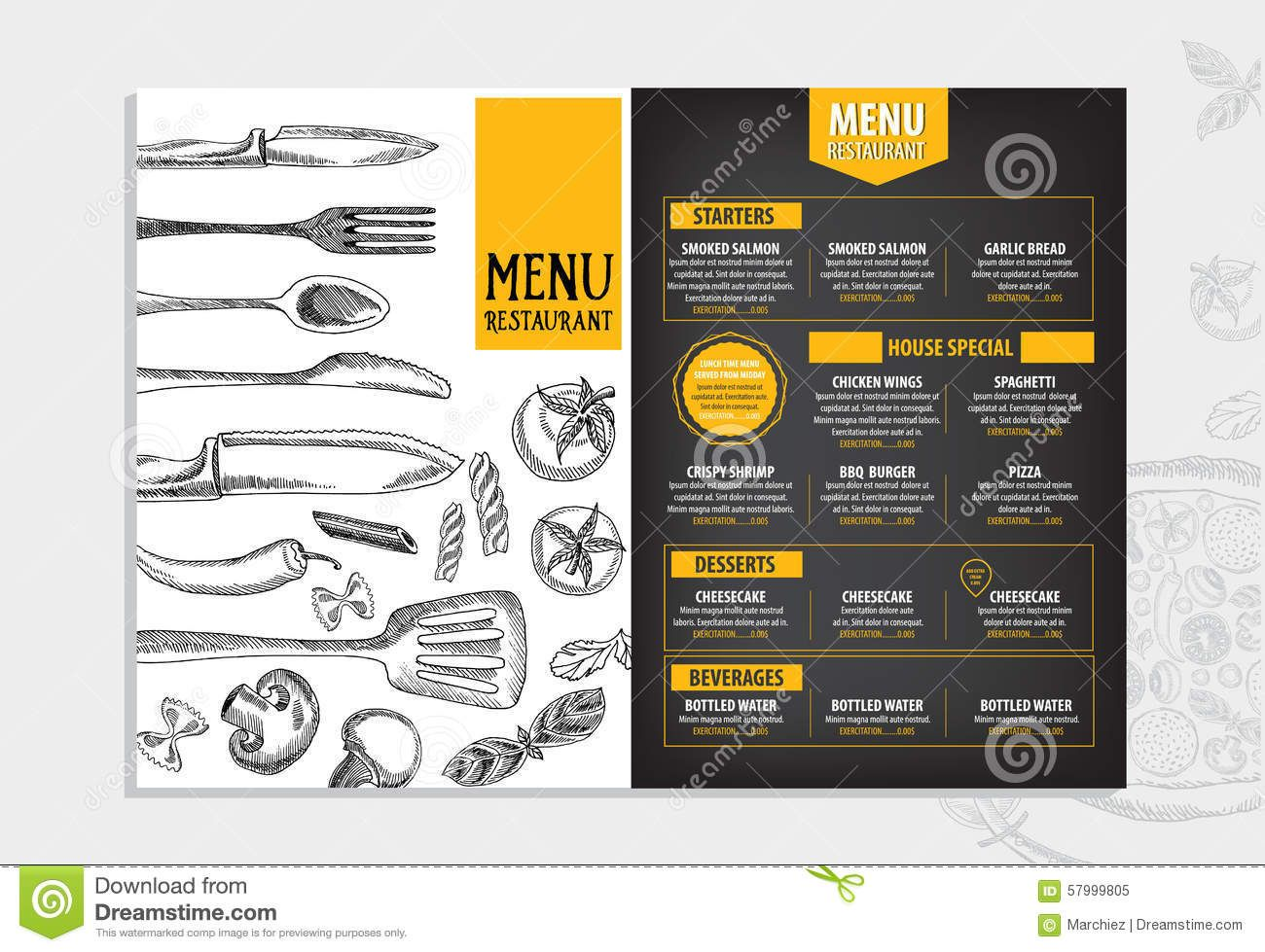 Restaurant Cafe Menu Template Design Food Flyer Stock Vector