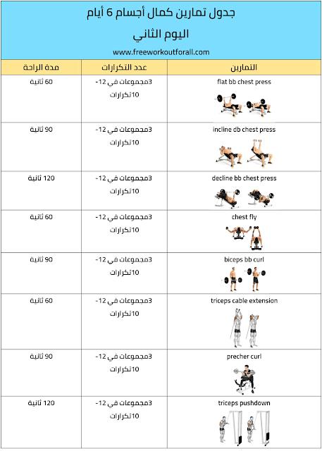 جدول تمارين كمال اجسام 6 ايام Workout Schedule Workout Night Sky Wallpaper