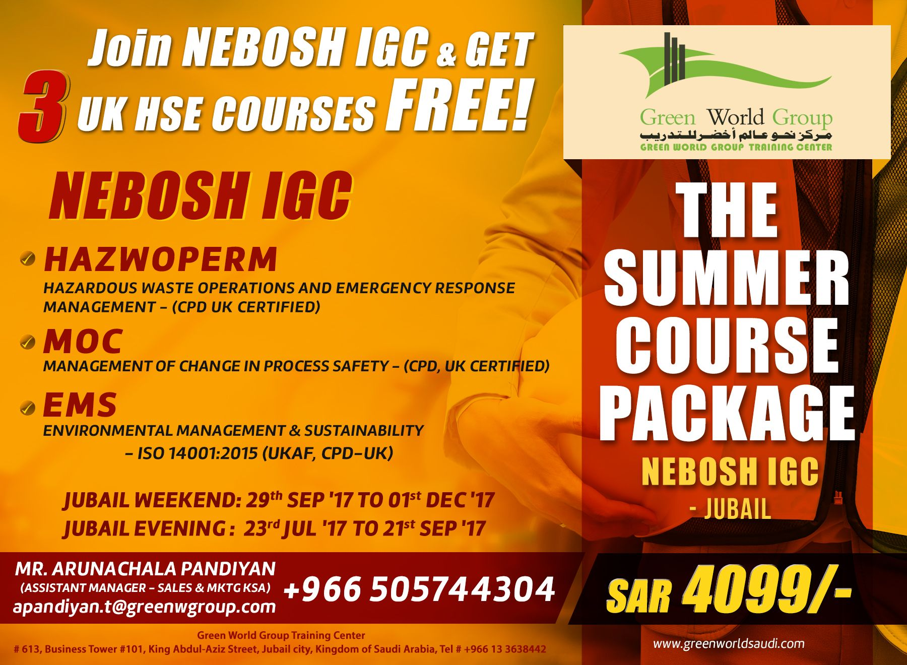 Join Nebosh Igc Course In Jubail Get 3 Free Uk Hse Courses In