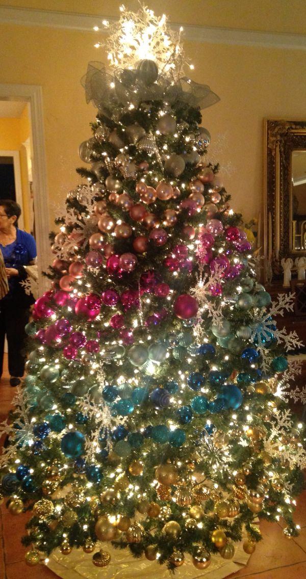 Ombre Christmas Tree Decorating Idea Diy