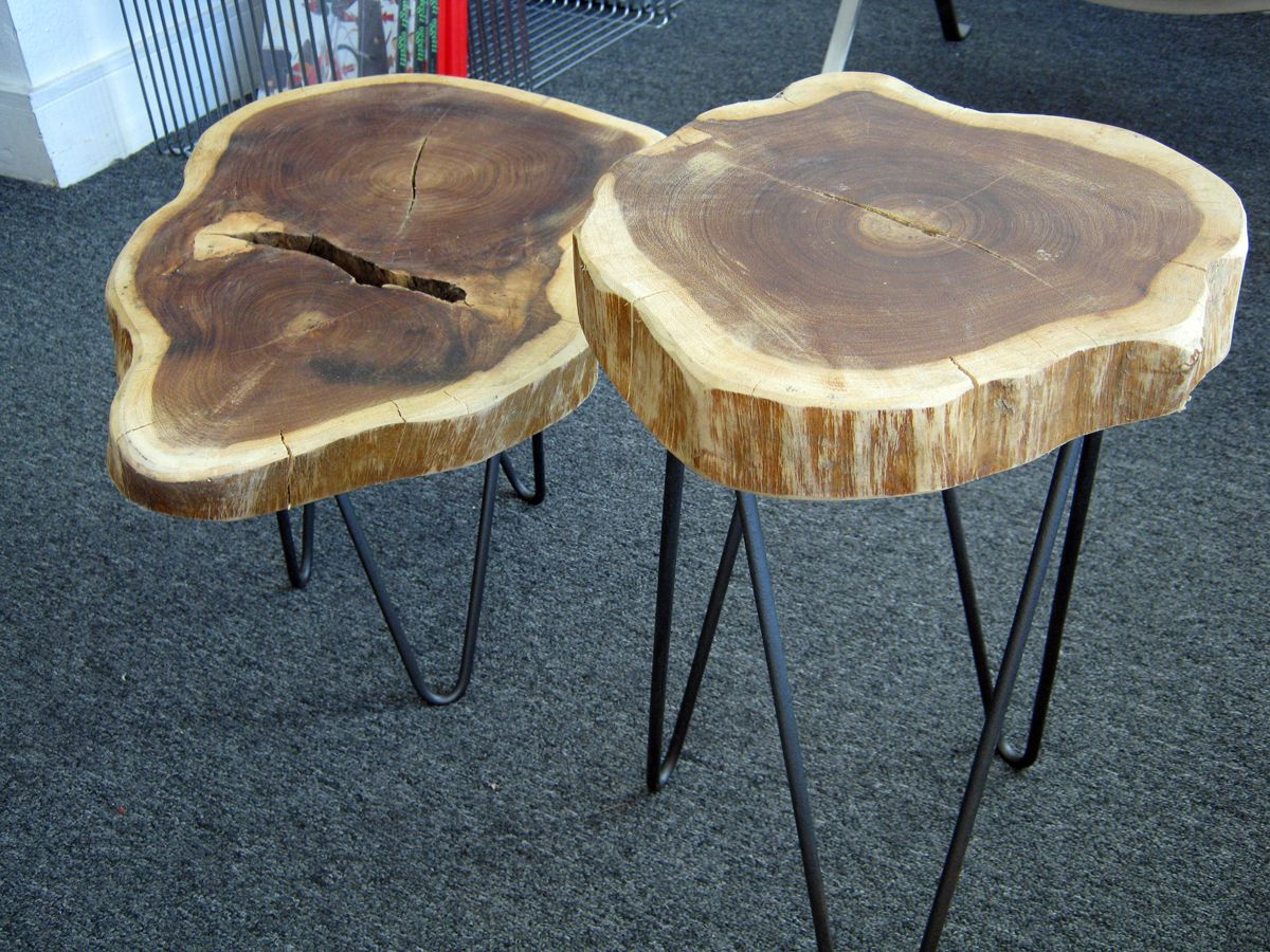 Rustic Tree Trunk Tables with 1950s French Style Hairpin Legs These