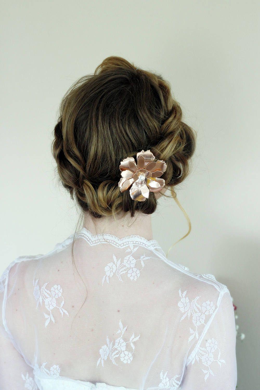Rose Gold leather bridal big hair flower,rose flower Bridal ...