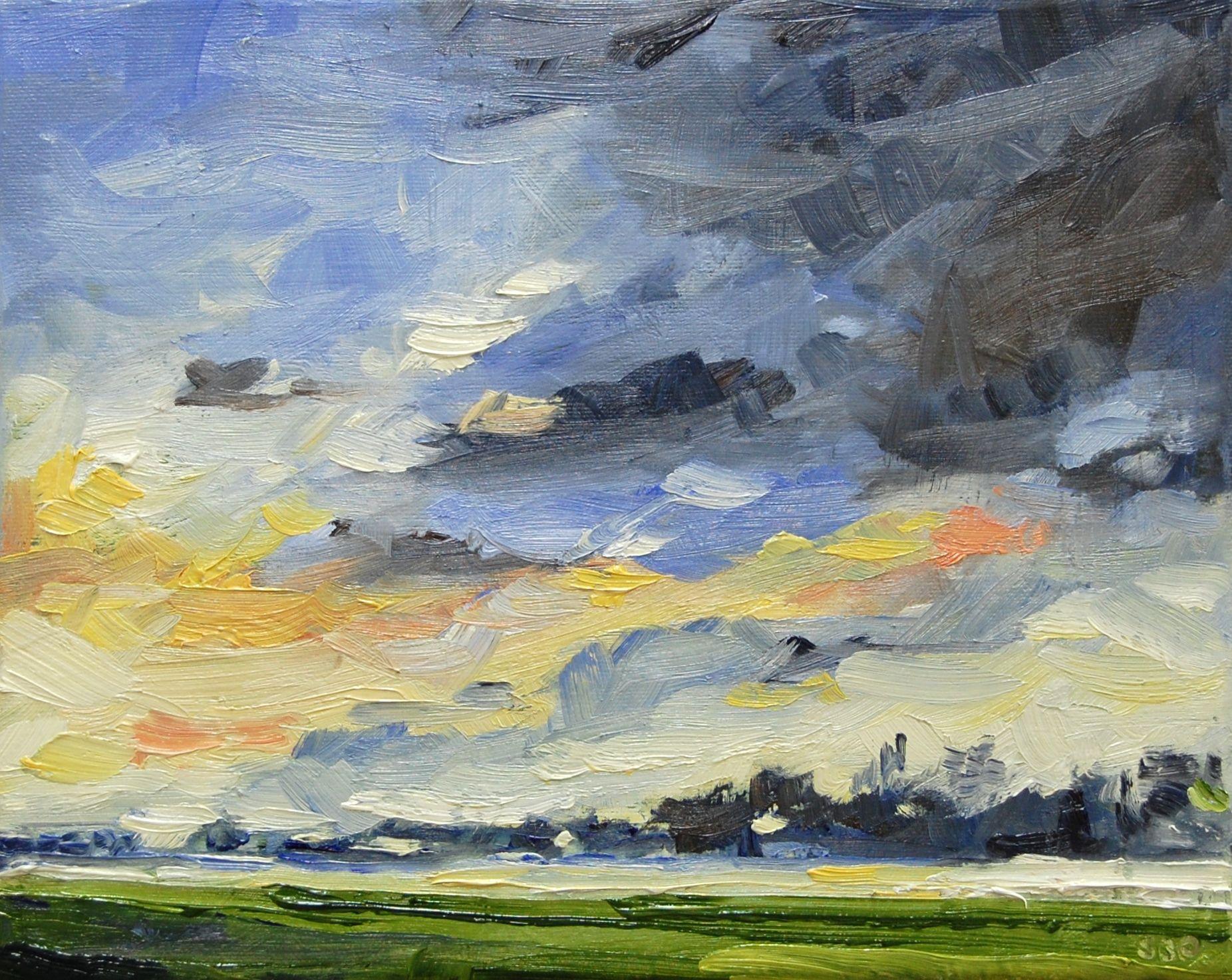 Evening Clouds Painting Art Landscape