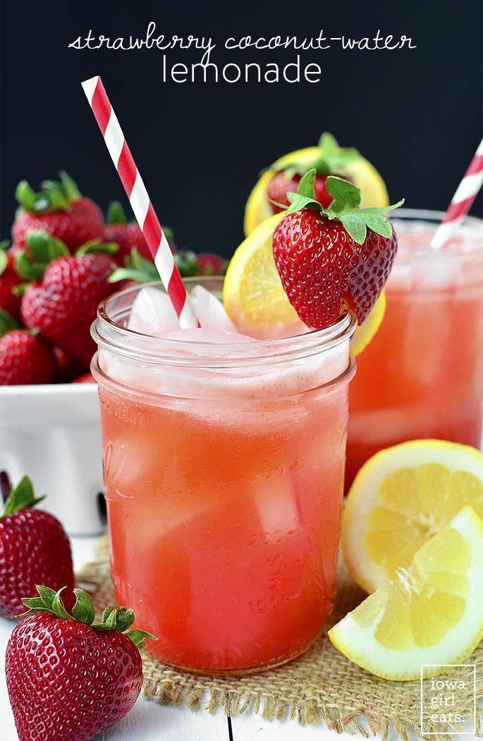 Strawberry Coconut Water Lemonade