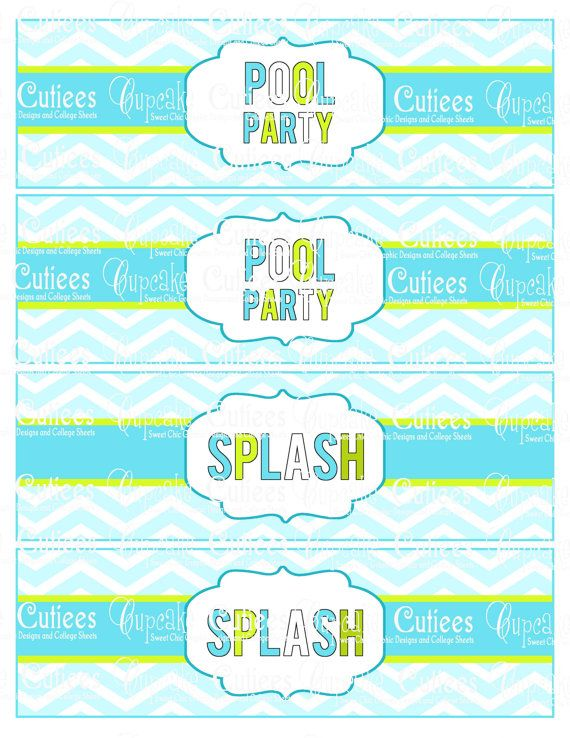 Pool Party  Blue Green Party Pack Party Digital Water Bottle