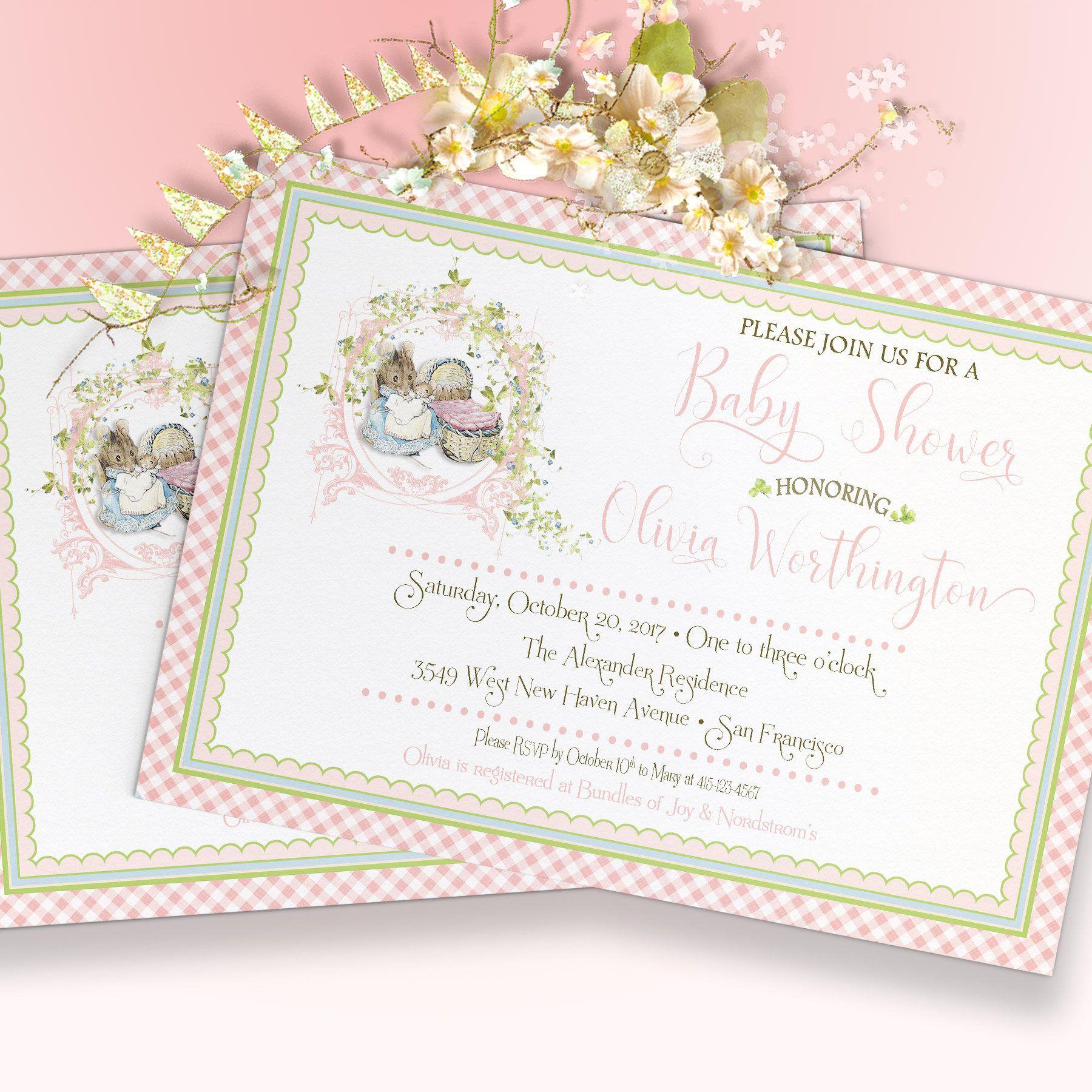 Peter Rabbit Baby Shower Invitation Hunca Munca Pink Printable Digital