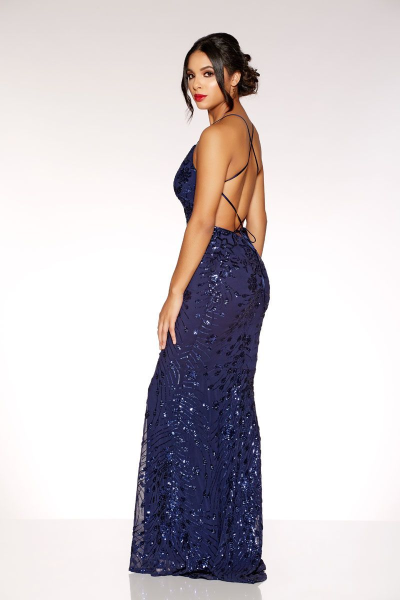 7654740d Navy Sequin Cross Back Fishtail Maxi Dress in 2019 | fashion ...