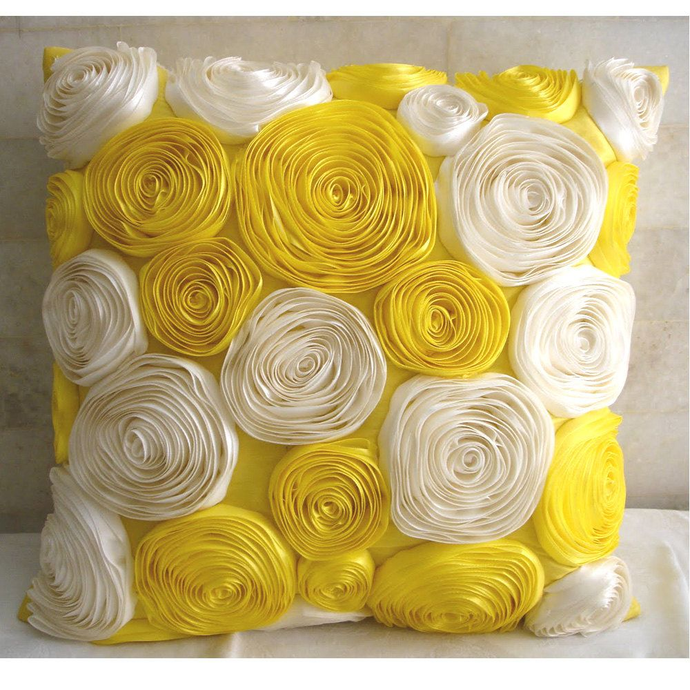 Sunny Yellow Blooms - Throw Pillow Covers - 18x18 Inches Silk Dupioni Pillow  Cover with Satin Ribbon Embroidery
