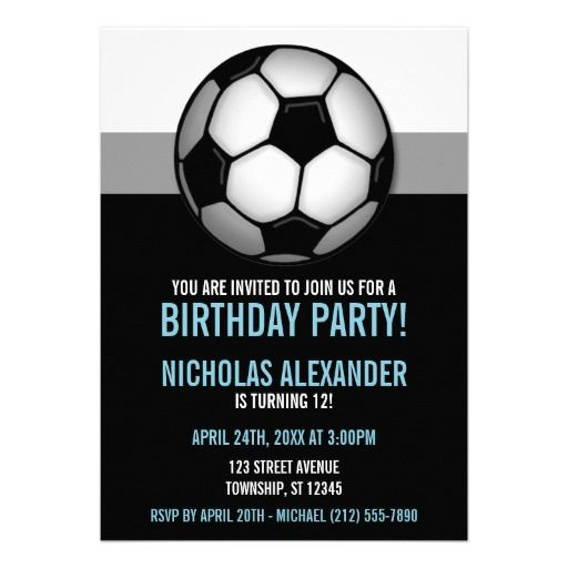 Soccer Ball Blue Black Birthday Invitations Zazzle Com Birthday Invitations Soccer Soccer Ball
