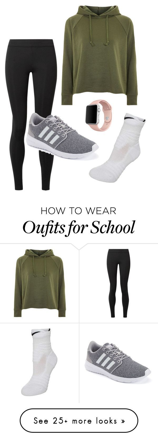 """Photo of """"School"""" by woodscb on Polyvore featuring The Row, adidas, NIKE, Topshop and App…"""
