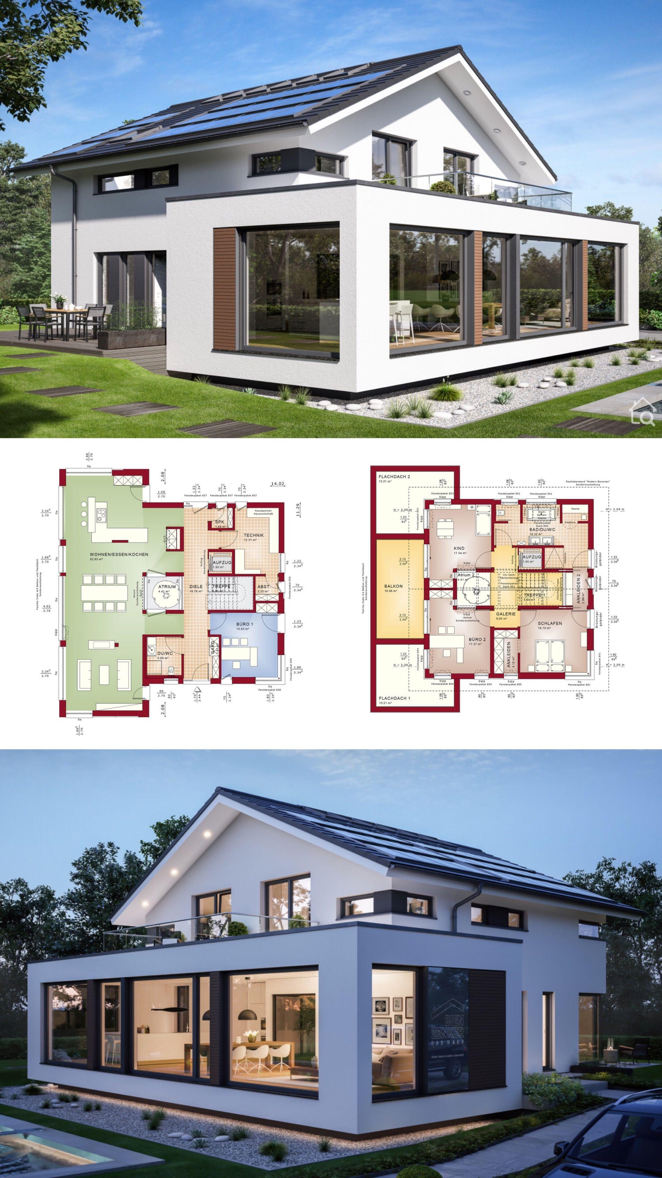 Fertighaus Modern Mit Satteldach Grossem Wintergarten Erker Grundriss Offen Mit Kleinem Innenhof Galerie 5 Zimme Modernes Haus Haus Plane Architektur Haus