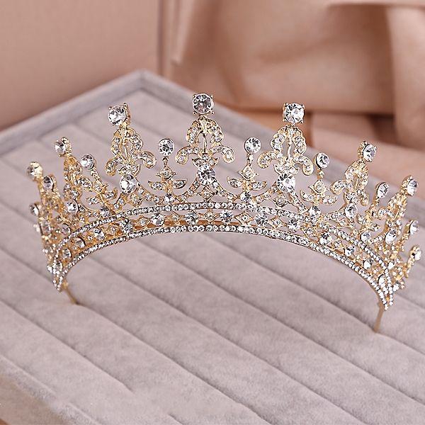 22b7bab8d Cheap Oro plata en dos tonos nupcial corona de la Tiara del desfile cristal  nupcial accesorios de la boda celada diadema Tiara de la boda Rhinestone