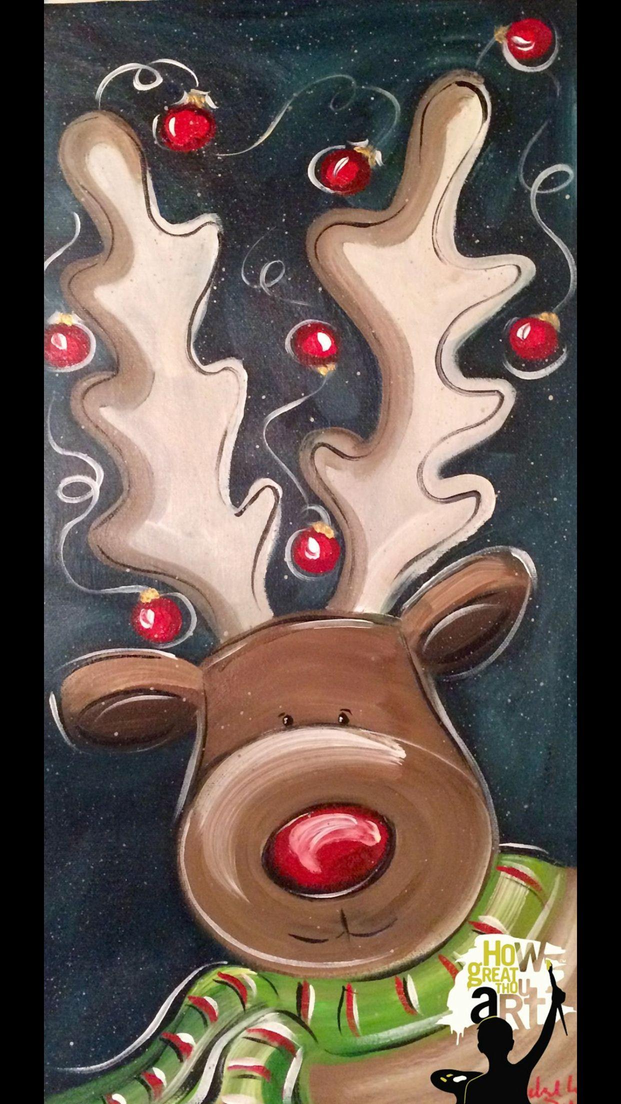 Cute Christmas Paintings Canvas Xmas Crafts