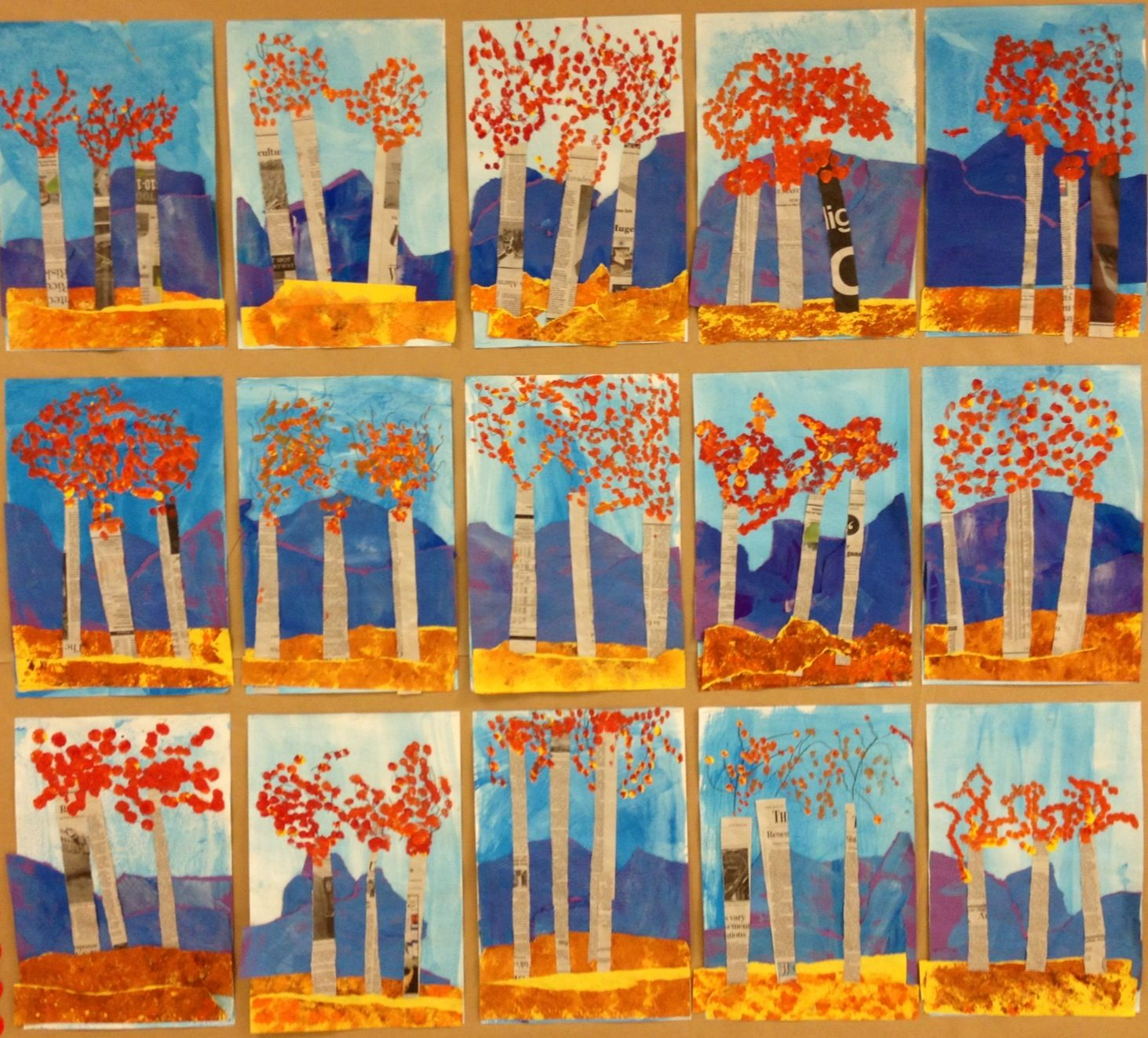 Grade 1 Newspaper Trees And Textured Mountain Fall Landscape Collage