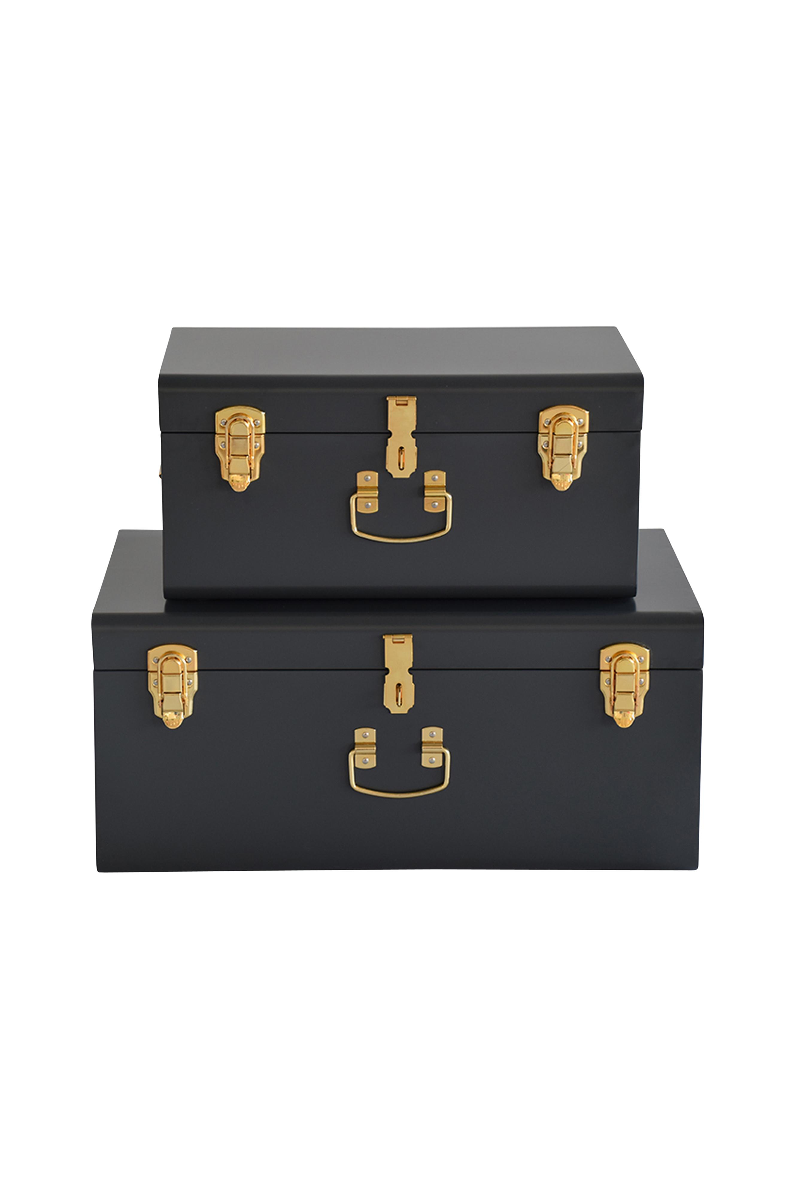 Modern inredningsförvaring om 2 koffertar i lackad metall. Mått 56x35x25  och 44x27x21 cm. 0a0f1f71148a6