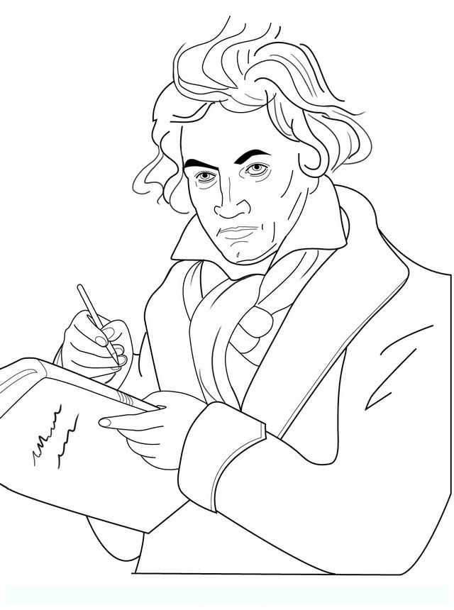beethoven famous people coloring pages