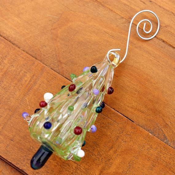 Christmas Tree Ornament Hand Crafted Glass Holiday Ornament Handmade Christmas Tree Gift Idea Hand Blown Glass #smallchristmastreeideas
