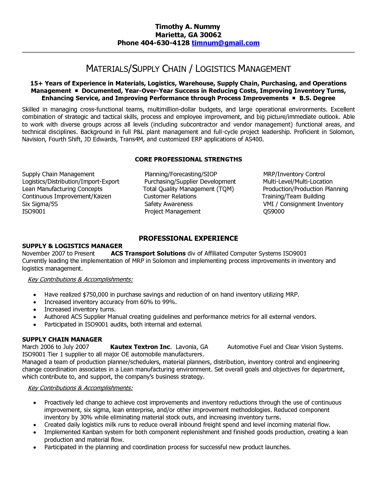 Supply Chain Resume Templates | Supply Chain Manager in Atlanta GA Resume  Timothy Nummy