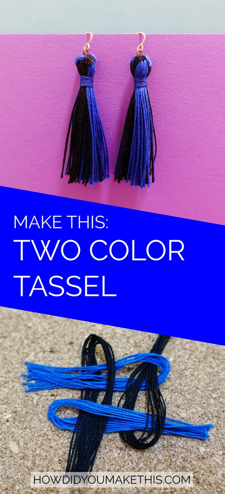 Two-Color Tassel Earrings #easydiy