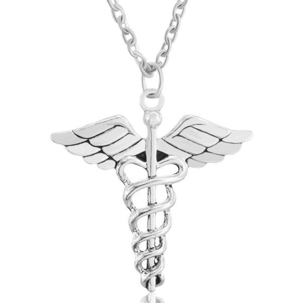 Check Out Our Caduceus Medical Symbol Necklace Silver Pendant