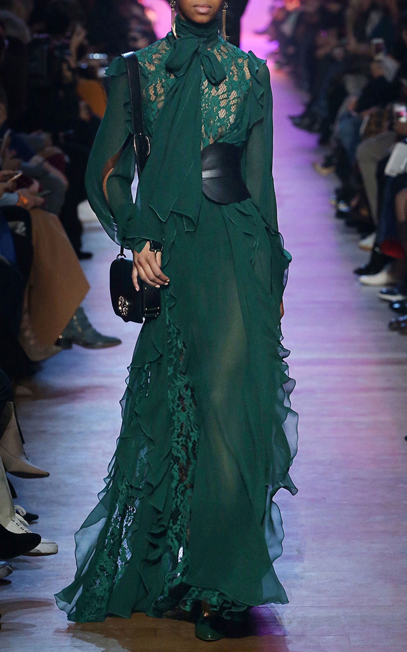 Flowy beautiful green lace ruffle maxi dress by elie saab moda