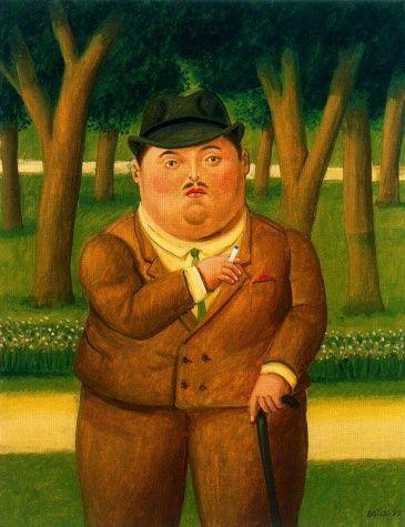 Botero. El pintor de este obra es Fernando Botero de espana, y es fomosa para las personas gordos y colores vibrante. me gusta la pintora por que es comico y novedosa.  R. Marcoplos